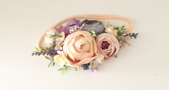 Peach Flower crown- baby floral headband- Well dressed wolf wild lucy- Floral crown Flower Girl headband