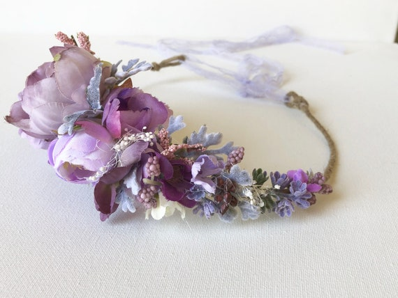 Purple flower crown- Floral halo- Flower crown- Well Dressed Wolf Crown- Wedding Flower Crown- Flower Girl