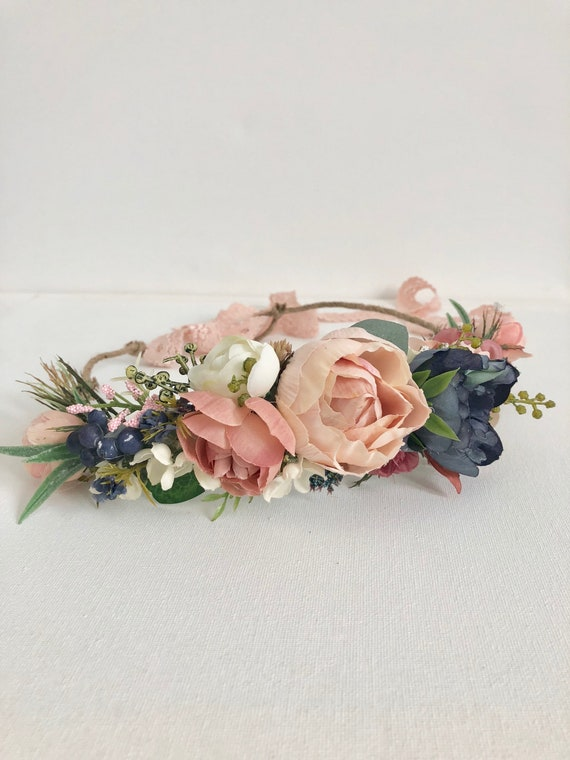 Coral and navy Flower Crown