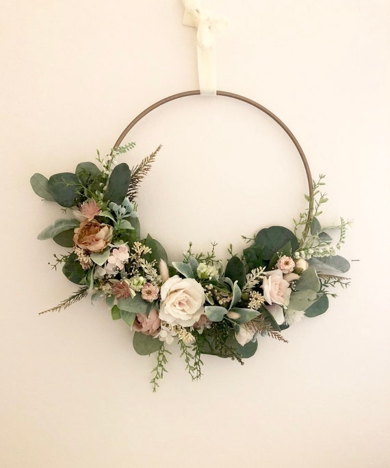 Blush hoop wreath- modern wreath- Nursery wall decor- floral wall decor- wedding hoop wreath- wedding