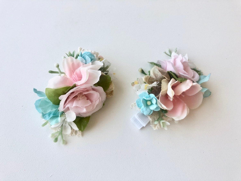 "Wedding Flower Girls school 2.5"" Girls Pink Flower Hair Clip Pink Flower"