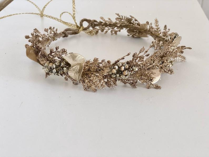 flower girl Floral crown wedding flower crown Gold Flower Crown Well Dressed Wolf