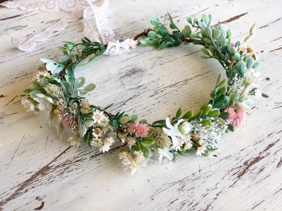Flower Crown- dried Flower Crown- baby flower crown- Bridal Flower Crown- Flower Girl- greenery halo- Mommy and Me halos
