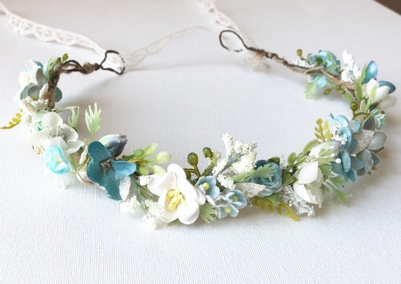 Pleiades Flower crown- Well Dressed Wolf Teal Josie- Beach Wedding- Floral Crown- Flower Crown- bridal hair- baby flower crown