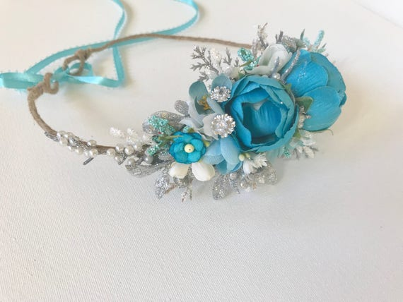 Blue flower crown- floral Crown- Flower Girl- Bridal flower crown