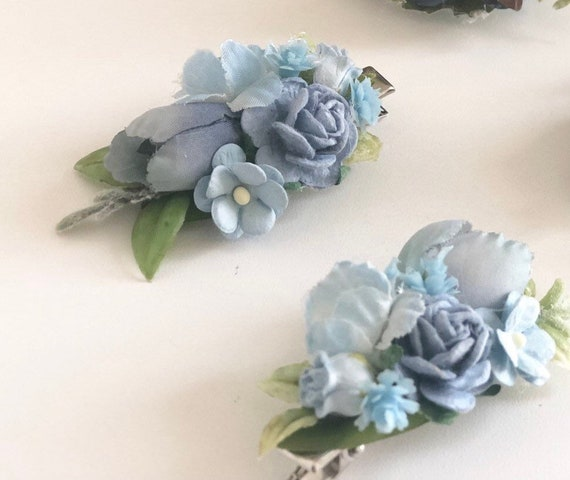 Blue Flower hair clip- Kids hair clip- Baby hair clip- no slip clip- flower hair piece