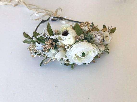 White Gold Flower Crown