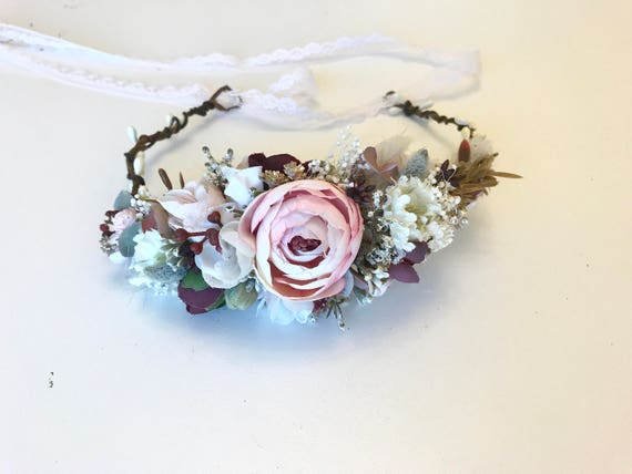 Berry pink flower crown- Well Dressed Wolf flower crown- bridal crown- flower girl crown