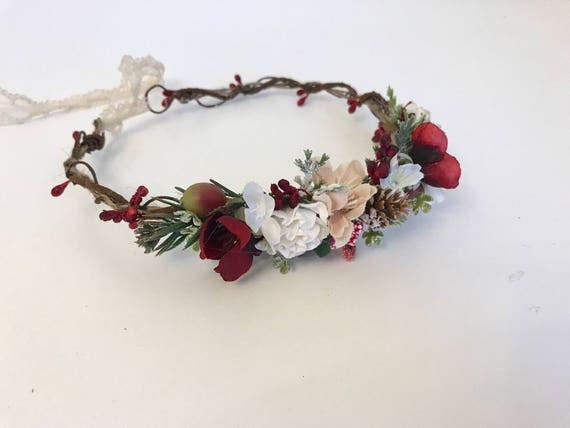 Red neutrals dainty partial flower crown