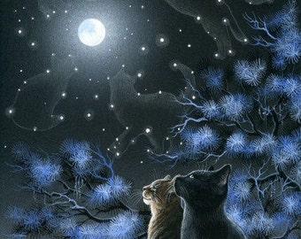 Black Cat Moonlight Reflections Print by I Garmashova