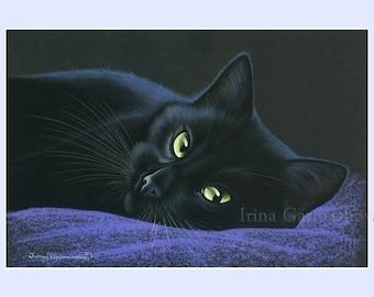 Black Cat Print Place Of Rest by Irina Garmashova