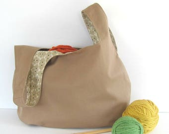 Knitting bag, large project bag, Knitter's gift bag for Mom, Tan yarn bag or Knitting tote