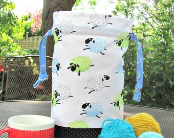 Sheep knitting bag, Medium drawstring project bag, Knitter's Gift, Yarn bag Sock bag or Baby shower gift bag