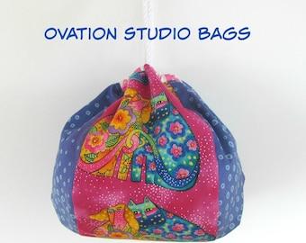 Kinchaku bag, Knitting bag, Project bag for knitting, crochet, Drawstring bag