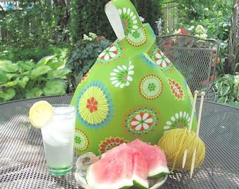 Knitting Tote Bag Lime Green Project bag for knitters, Crochet bag, Japanese Knot Bag, Flower Medallion handbag, Gift for Mom