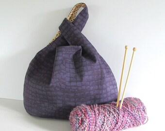 Knitting bag, Knitting tote - purple handbag, Gift for knitters Sweater knitting bag, Japanese knot bag,