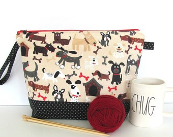 Knitting Bag, Knitting project bag, The Dog Park zippered pouch, Knitting tote, large zipper bag for electronics, cords or makeup.