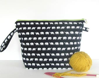 Shawl knitting bag, Medium project bag, Padded accessories case, Wedge knitting bag, Large zippered pouch, Elephant canvas