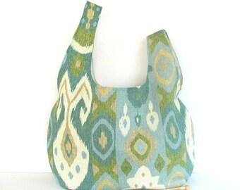 Project bag, large knitting bag, Japanese Knot handbag, Christmas Knitter's Gift for Mom - Ikat aqua