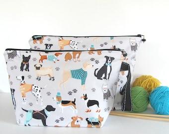 Project bag, Knitting bag, Zipper Crochet project bag, Socks bag or Shawl bag, Gift for Knitters, Kids toy bag - Gone to the Dogs bag