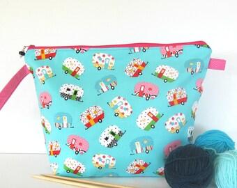 Knitting project bag, Crochet wedge bag, Shasta Camper Travel bag, Reusable Accessory bag, Cable Storage organizer bag, Knitting storage bag