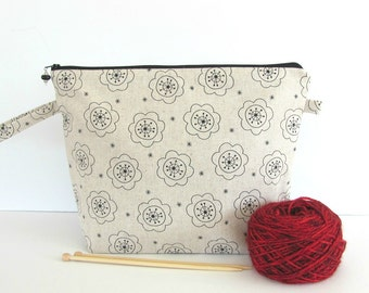 Linen Knitting Bag, Zipper Crochet Bag Wedge Knitting Project Bag medium shawl size