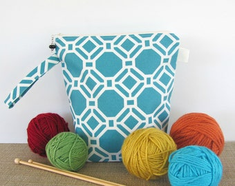 Socks Knitting Bag Turquoise Project Bag, Zipper Knitting Bag or large Cosmetics or makeup bag