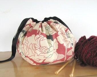 Knitting bag, Japanese Kinchaku drawstring bag, Project bag for crochet, knitting or embroidery