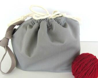 Drawstring Knitting bag, Knitting bucket, Large knitting project bag with shoulder strap, Gray tote