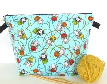 Sheep Knitting Bag, Crochet project bag, Knitting project bag, Zipper pouch yarn bag, Gift for Knitter