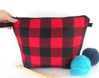 Knitting bag, Knitting project bag, Crochet project bag, gift for knitter, Buffalo plaid, Red Black Lumberjack check - Small or Medium