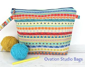 Knitting bag, Bold stripes knitting project bag, Zipper Cross Stitch bag, Wedge crochet bag, knitting accessories, gift for knitter