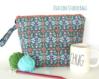 Large knitting bag, Zipper project bag for knitters, Yarn bag knitting accessories, Mother's Day gift