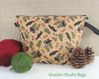 Zipper Knitting bag, project bag, yarn bag, Knitter's gift, Crochet project bag - Black Bears