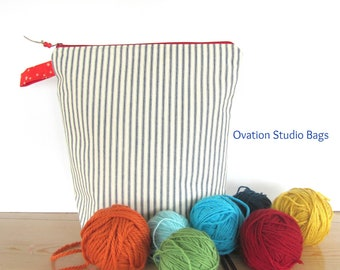 Mother's Day gift, large Knitting project bag, Shawl knitting bag, crochet project bag, Navy ticking stripes