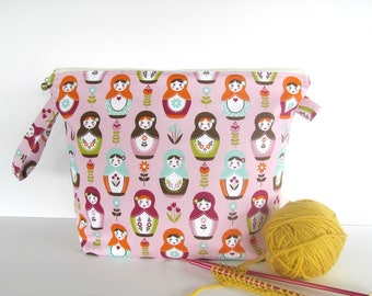 Wedge knitting bag, Medium zippered project bag, crochet or knit, Russian Dolls Gift for Knitter, Shawl or sweater bag