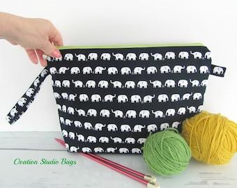 Elephant knitting bag, Zipper crochet project bag, Dark navy bag, Kawaii Elephants, Knitters gift socks knitting bag, Cosmetic makeup