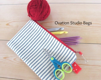 Crochet hooks storage case, Knitting needles, DPN needles case, canvas pencil case, cosmetics case,  makeup bag