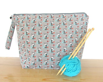Owls Knitting bag, Crochet bag, Project bag , Knitters Gift for Mom, yarn bag
