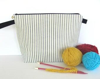 Knitting Bag, Crochet Project Bag Knitting Tote Bag, Zipper Knitting Project Bag - Navy blue cotton ticking stripe