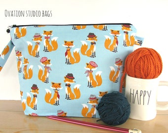 Knitting bag,  Mother's Day gift, Zipper knitting project bag, Crochet bag, Cross stitch storage bag, Foxes toy bag