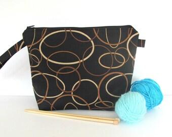 Socks knitting bag, Knitting project bag, Cosmetic bag, Makeup bag, knit crochet, Toiletries travel case Gift for Dad