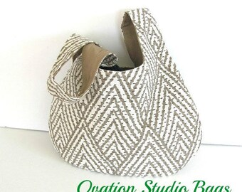 Knitting Bag, Self Closing Japanese Knot Handbag, Geometric Chevron Wristlet, Knitting Project Bag Taupe Cream