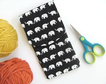 Elephants Knitting needles case, sock needles case, Crochet hooks case, Artist's pencil case, Notions case, Kawaii Notions pouch