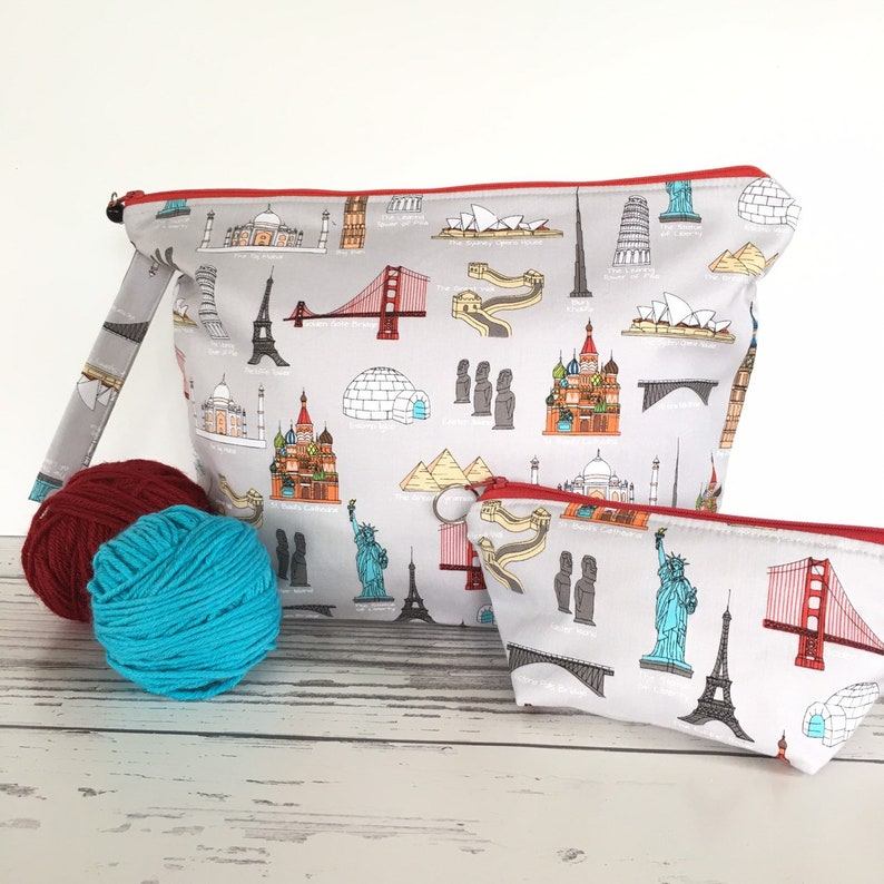 zipper pouch Large project bag for knitting or crochet gift ofr knitter