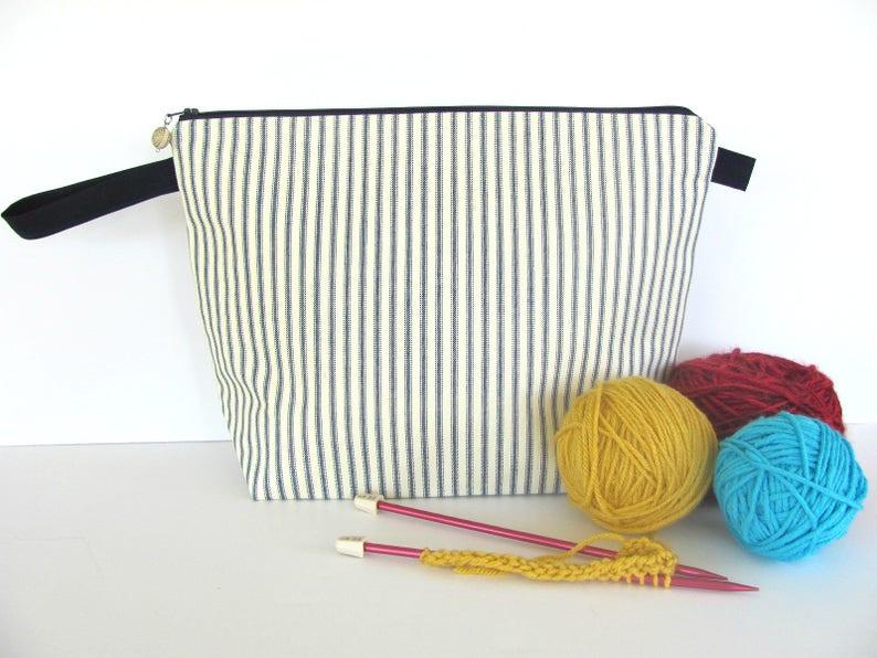 499674463195 Knitting Bag Zipper Knitting Project Bag ticking stripe bag