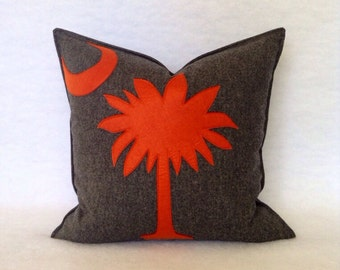 Palmetto Tree and Moon Pillow in Charcoal Gray Wool