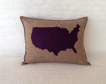 U.S.A. Map Pillow