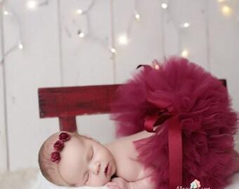 CRANBERRY TUTU and Headband, Newborn Tutu, Baby Tutu, Tutu and Tieback, Newborn Photo Prop, Photo Prop, Tutus for Children, Tutu Set