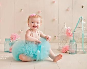 SMASH CAKE OUTFIT, Aqua and Pink Set, Aqua Smash Cake Tutu, Baby Tutu, First Birthday Outfit, 1st Birthday Tutu, Aqua and Pink Cake Smash
